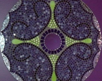 mosaic mirror in purple and green