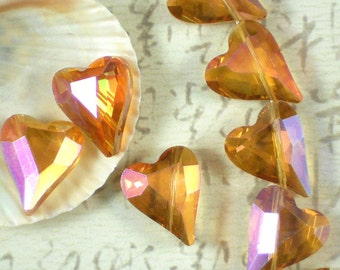 6 Crystal Heart Beads 22mm Fuchsia Gold AB Faceted (C339)