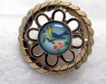 Blue Bird Pin Brooch Vintage Reverse Painted