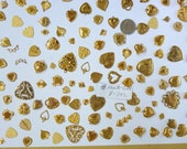 HEARTS Victorian LOVE  Gold Celestial Charms Findings Wholesale Lot Bulk New 100 or more (B-342)
