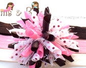 Pink Chocolate Neapolitan Dots Boutique Baby Girl Korker Hair Bow Shimmery Elastic Headband
