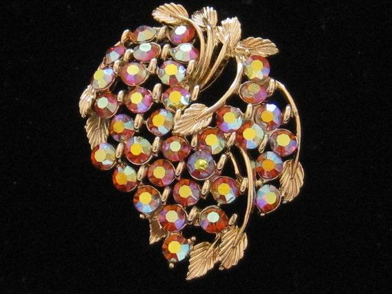 BSK AB Rhinestone Grapes Leaves Pin Vintage 1950s