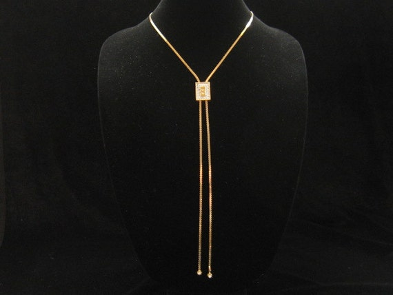 Vintage Panetta Slide Necklace With Snake Chain 1960s