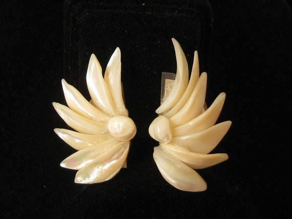 Vintage Mother Of Pearl Wing Design Earrings 1960s