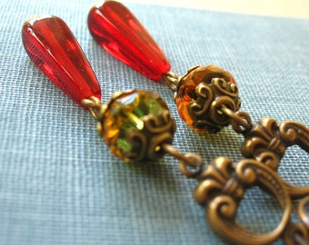 Marquise - Red green brass earrings - Elysia