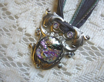 Mystic Silver Victorian Pendant And Silk Ribbon Free Shipping in USA