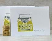 Personalized Stationery: Vintage Typewriter, Custom Stationary, Flat Note Cards - Yellow, Honey Gold, Grey (Set of 8)