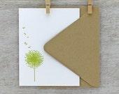 Dandelion Letterpress Notecard Set - Flower, Flat Note Cards, Chartreuse Green, Spring, Summer - 10 pack (NDD4)