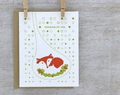 Fox Letterpress Greeting Card Set - Thinking of You, Fox in Burrow, Oak Leaf - Rust Orange, Chartreuse Green, Autumn 3 pack (GSF01)