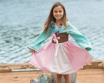 "SALE - Aqua Blue, Soft Pink & Brown ""Little Mermaid"" Kimono Dress - Girls - Costume - Spring - Birthday - Party - Theme - Special Occasion"
