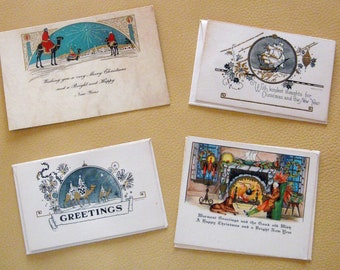Vintage Christmas Cards Greeting Cards Merry Christmas Holiday 1940s Set of Four