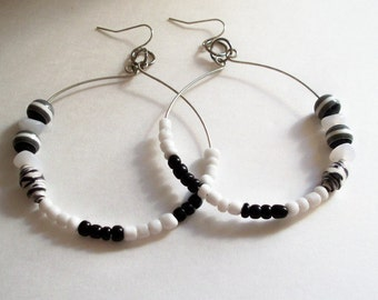 Hoop Earrings - Black White Glass Beads - Boho - Basketball Wives
