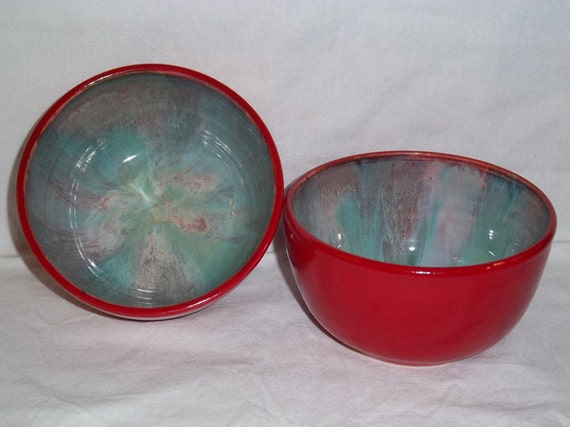 Pottery Chick set of 2 cereal bowls in red, greens and purples