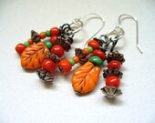 Bohemian Earrings Vintage Leaf Beads Tribal Czech Antique beads