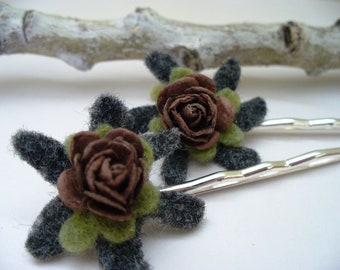 Rustic Bobby Pins Felt Flowers Grey Chocolate Brown Silver