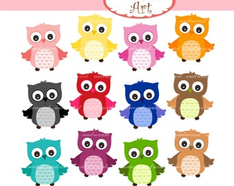 12 Owls clip art for Personal and Commercial use Jpeg and Png format - INSTANT DOWNLOAD