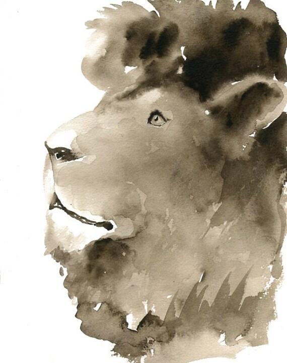 LION by DIMDI Original watercolor painting 8x10inch (vertical orientation)