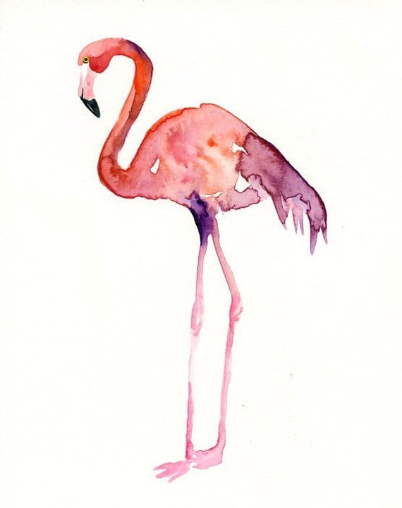 FLAMINGO Original Watercolor Painting 8X10inchVertical Orientation