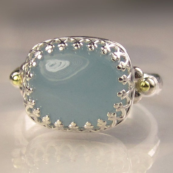 Milky Aquamarine Cocktail Ring, Sterling Silver and 18k Gold