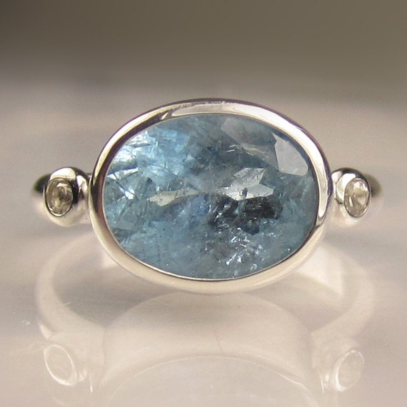 Natural Aquamarine and White Topaz Ring in Sterling Silver