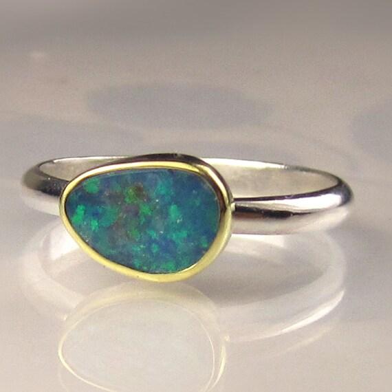 Boulder Opal Ring, 18k Gold and Sterling Silver, Gemstone Ring