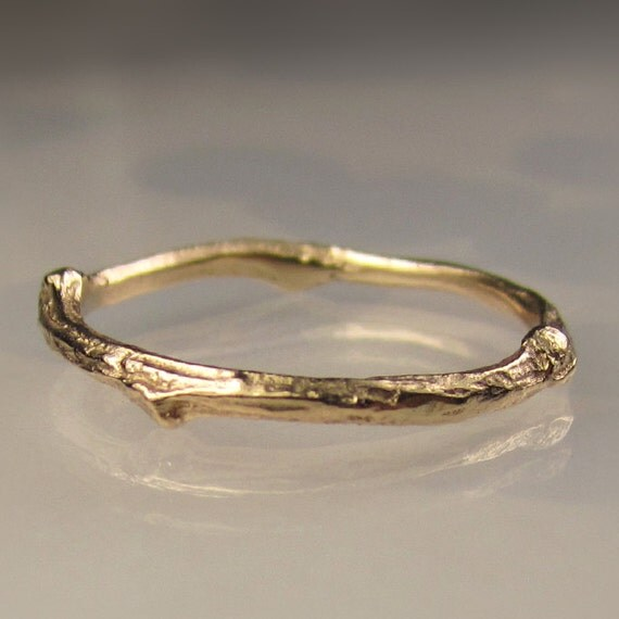 14k Gold Twig Band, Gold Wedding Band, 14k Yellow Gold or 14k White Gold