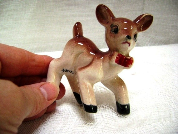 RESERVED For Angela, Vintage Deer Figurine, Bambi in a Bow Tie, 50s, Spotted Fawn, Japan, Anthropomorphic, Big Ears Oh Dear