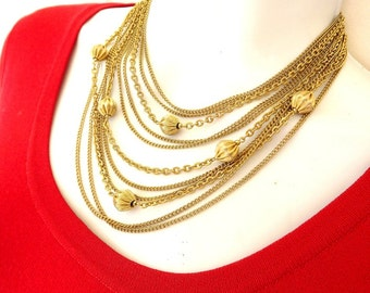 Vintage Bibb Necklace Strand Lisner Designer Signed Costume Jewelry Womens Accessories Dressy Casual