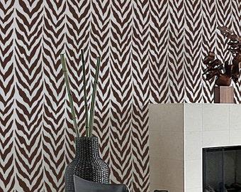 Zebra Stripe Allover Stencil - reusable stencil patterns for walls just like wallpaper - DIY decor