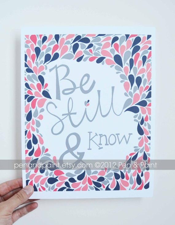 Navy & Coral, Scripture, Bible Verse, Psalms, Be Still and Know, Girls Room, Nursery Art, Inspirational Quote 8 x 10 Art Print