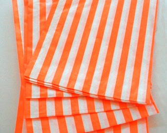 Set of 25 - Traditional Sweet Shop Orange Candy Stripe Paper Bags - 5 x 7 New Style