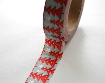 Washi Tape - 15mm - Red Christmas Trees on Blue - Deco Paper Tape No. 466