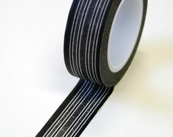 Washi Tape - 15mm - Grey and Black Flannel Stripes - Deco Paper Tape No. 547