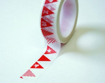 Washi Tape - 15mm - Red Christmas Bunting on White - Deco Paper Tape No. 571