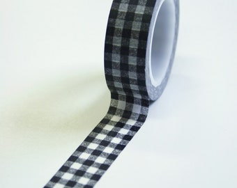 Washi Tape - 15mm - Black Gingham Pattern - Deco Paper Tape No. 603
