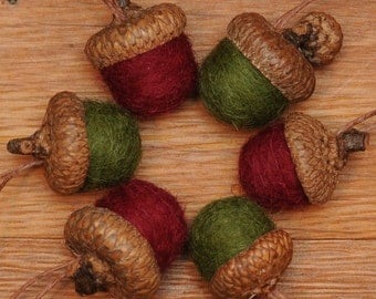 Felted Wool Acorns Red and Green Ornaments, also available without hangers