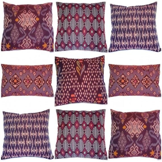 Ikat Pillows, Purple, Set of 9, 16x16