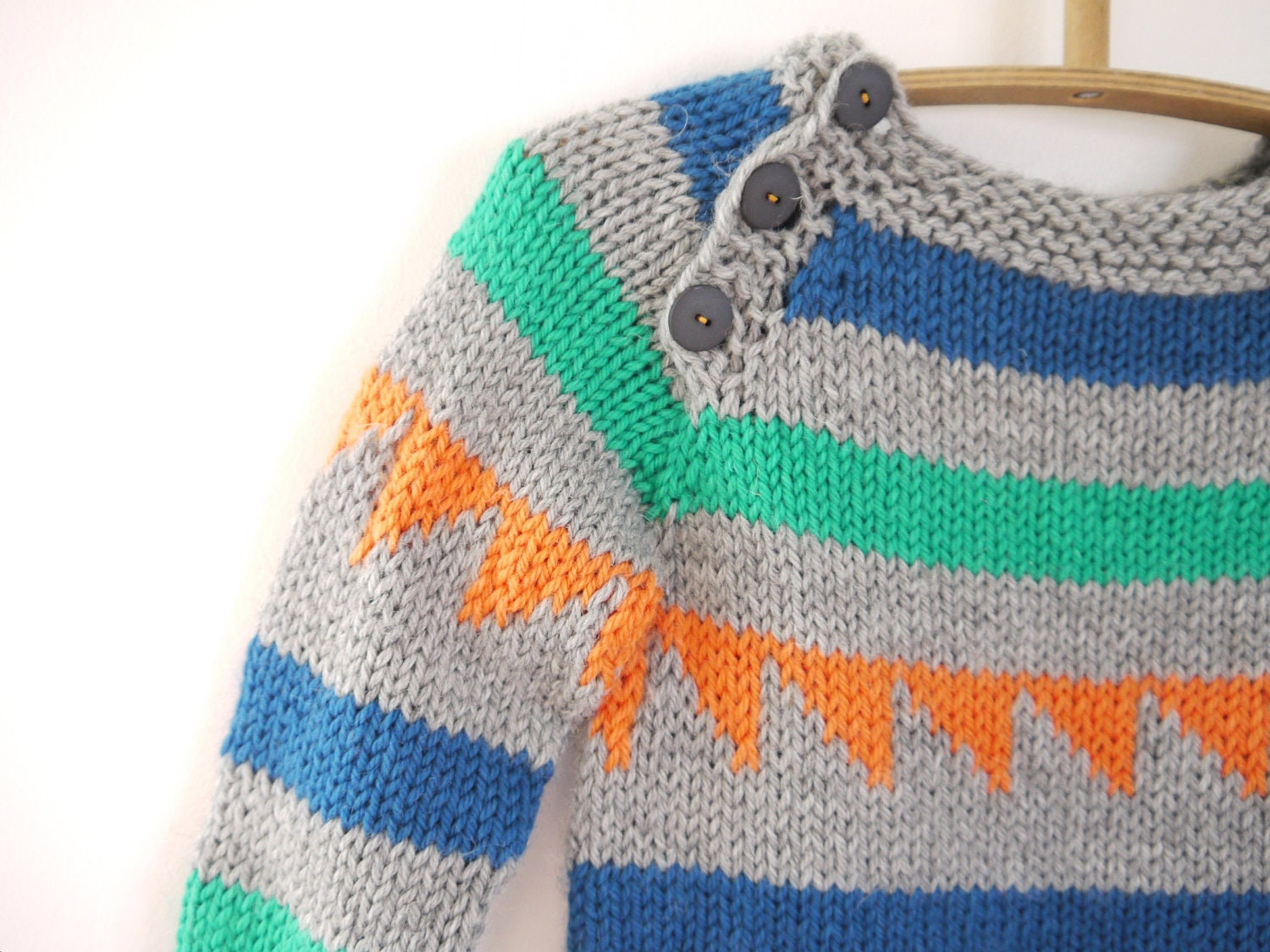Knitting Sweater For Kids : Boys knitted sweater triangle chunky pullover fits