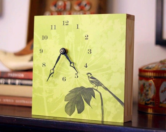 Green Perched Bird Art Clock, Wall Decor, Unique Wall Clock, Green Clock, Bird Decor