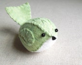 Mint Green and White Embroidered Wool Felt Bird Ornament