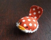 Burnt Orange Polka Dot Handmade Decorative Bird