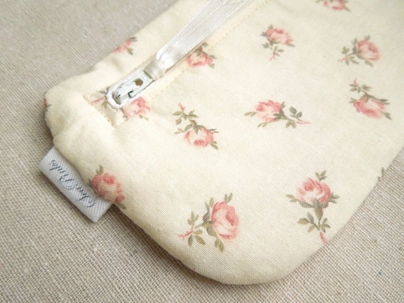 Pink and Cream Floral Pencil Case Long Zipper Pouch Coin Purse