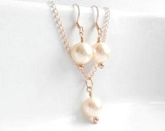 Simple pearl Necklace and earrings set  Rose Gold Swarovski Pearl  Bridal jewelry  Traditional pearl set