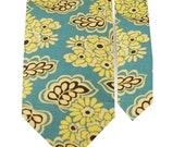 Father and Son Necktie Set - Blue Yellow Floral Necktie -Thomley - Matching Tie Set