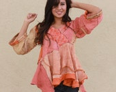 origami sculpted hand dyed linen layered tunic with ikat and vintage slices OOAK