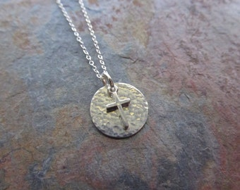 Sterling Silver Hammered Necklace with Cross