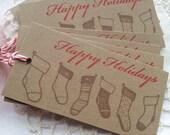 Christmas Tags Holiday Stockings Kraft Holiday Hang Tags Set of 8