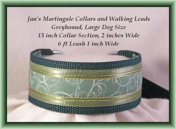 Martingale Collar and Leash Combination, Large Dog, Greyhound Size, Dark Green