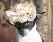 Pet  blond  wig with baby pink color bow   for dog or cat