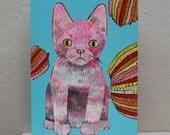 cat (original painting on wood)